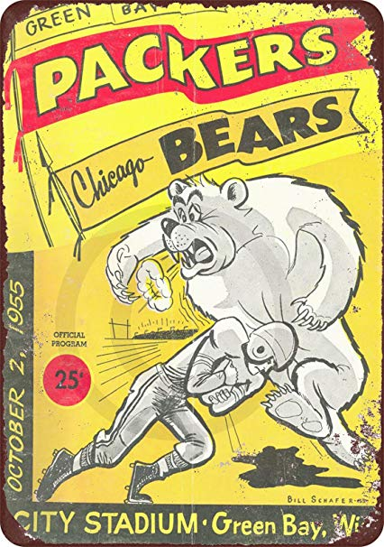 1955 Green Bay Packers vs Chicago Bears reproduction metal tin sign 8 x 12.