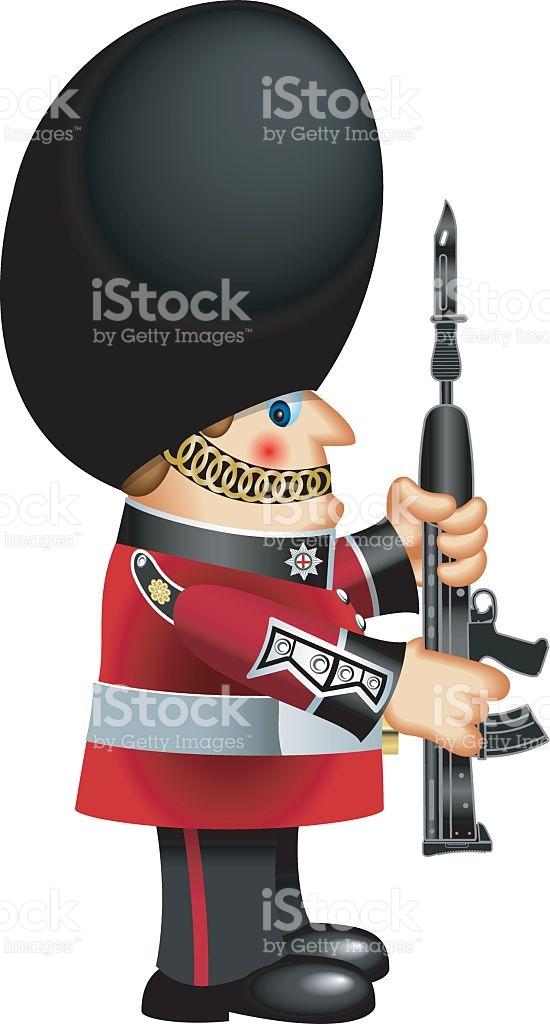 British Queens Guard With Bearskin Hat stock vector art 624739406.