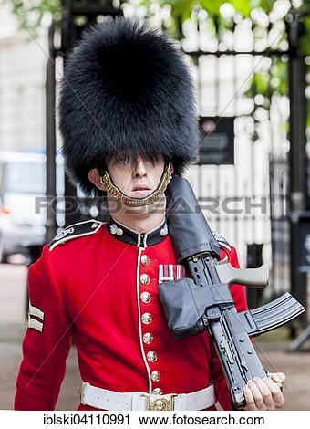 Stock Photography of Guard of the Royal Guard with bearskin hat.