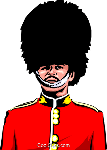 British Guard with bearskin hat Royalty Free Vector Clip Art.