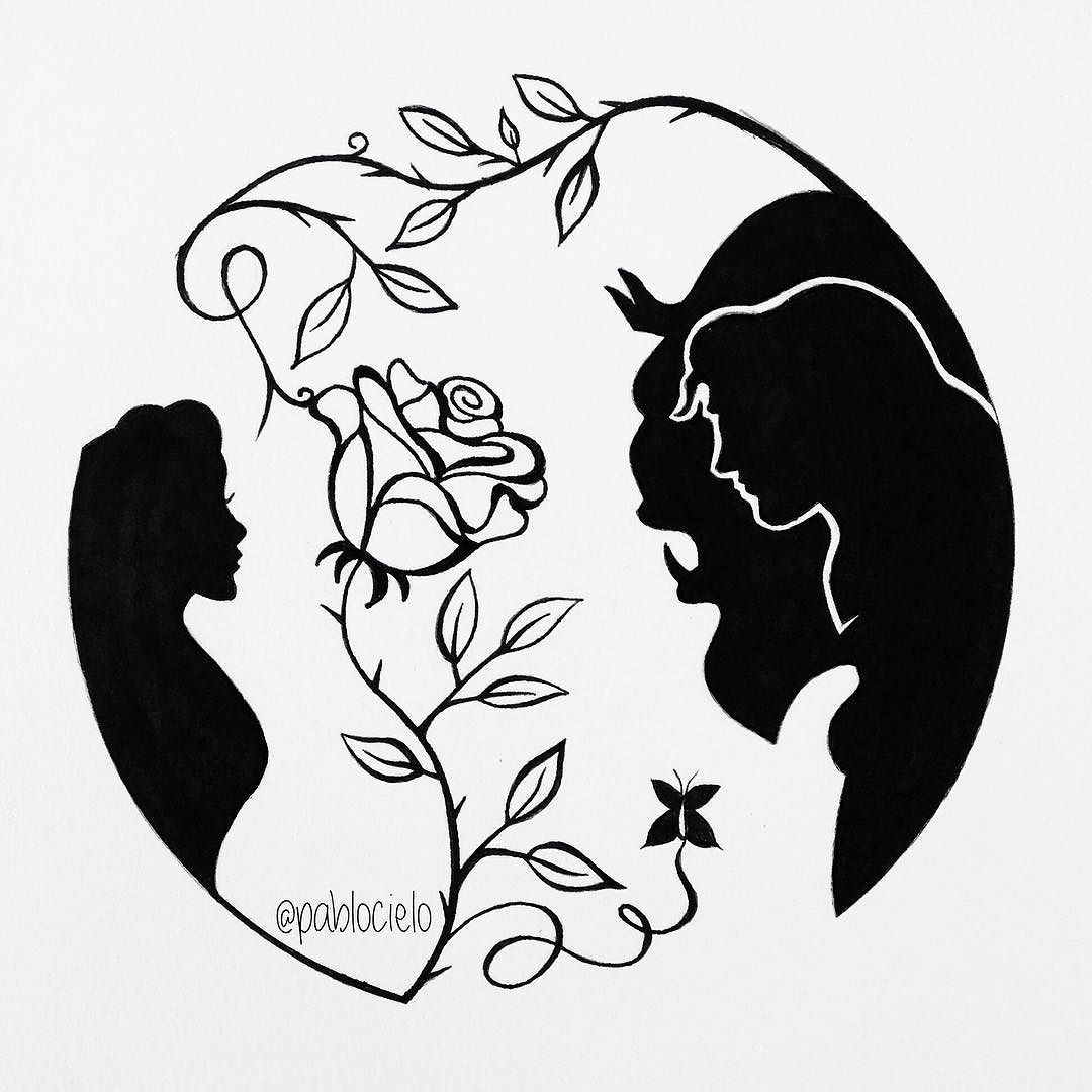 Beauty And The Beast Black And White Silhouette.
