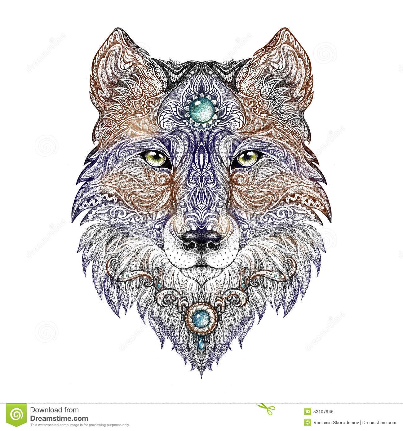 Tattoo Head Wolf Wild Beast Of Prey Stock Illustration.