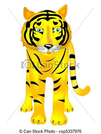 Clip Art Vector of Beast of prey tiger.