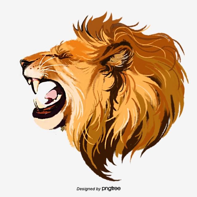 Hand Painted Elements Of Lion Roar Beast, Male Lion, Ferocious, Roar.