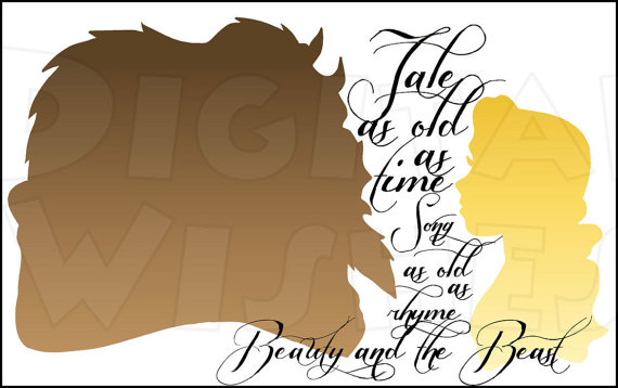 Beauty and the Beast Silhouette Tale as old as time Digital.