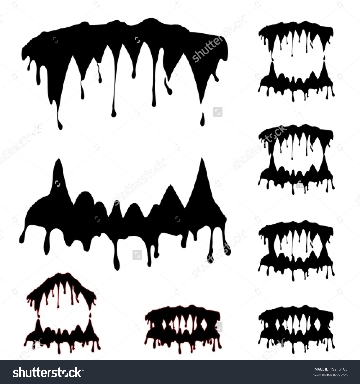 Beast Jaw Silhouettes Collection Vector Illustration Stock Vector.