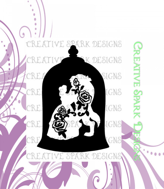12 Beauty And The Beast Silhouette Images, Digital Clipart Images.