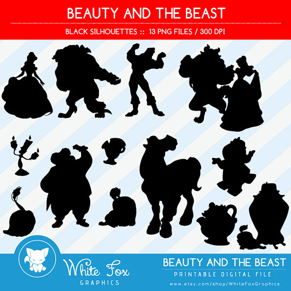 Beauty & the Beast Silhouettes // Disney Princess Belle Silhouette.