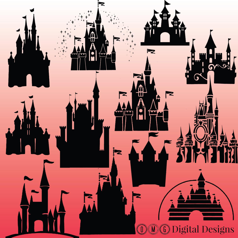 Disney world castle clipart silhouette.