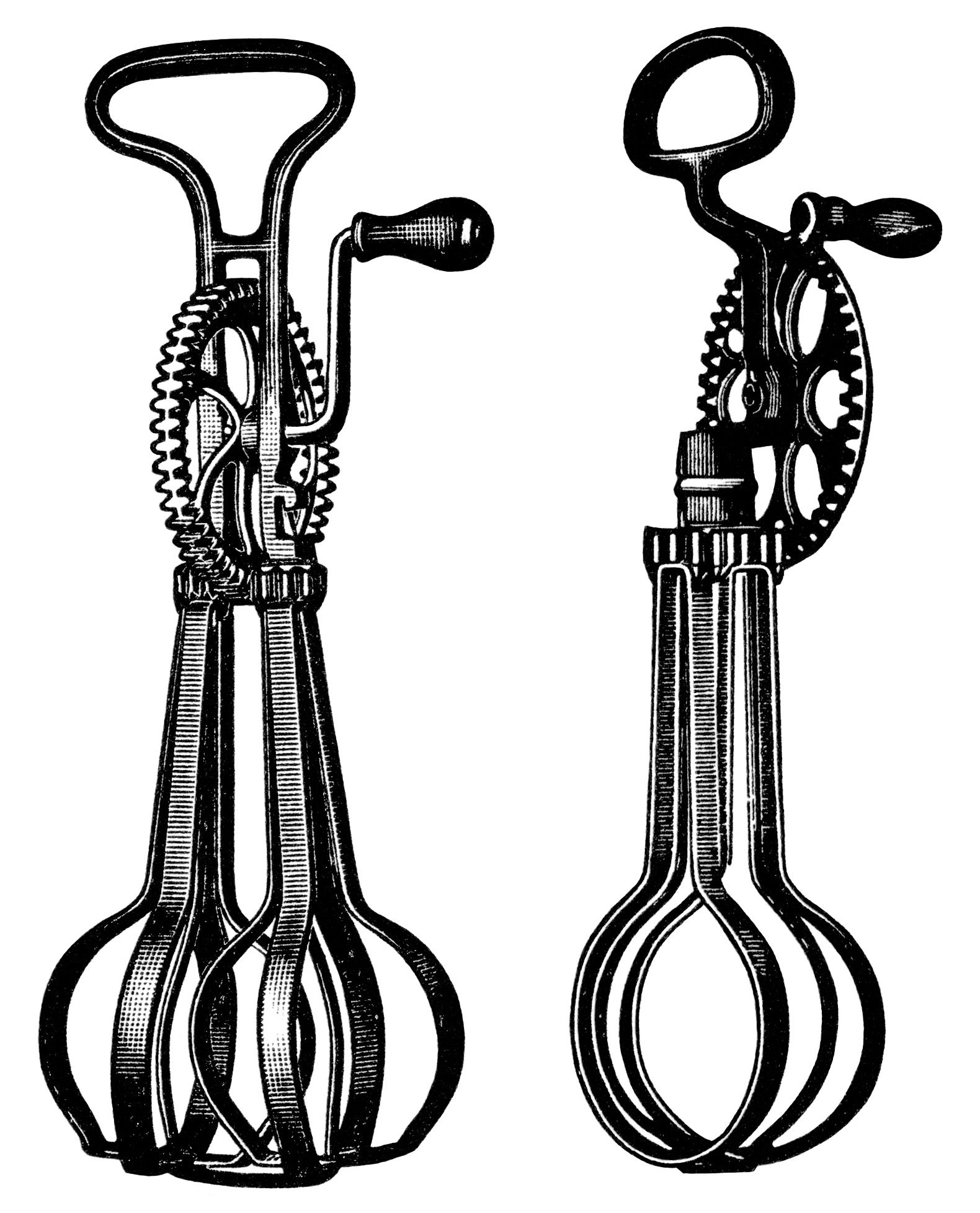 antique food mixer image, free black and white clip art.