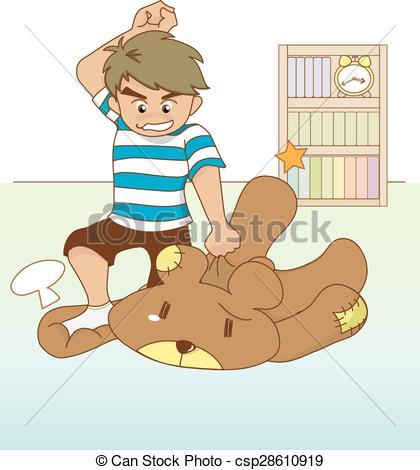 Vector Clip Art of Boy beating his teddy bear.