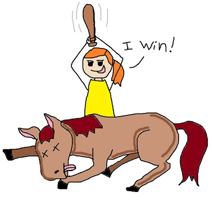Beating a dead horse clipart.