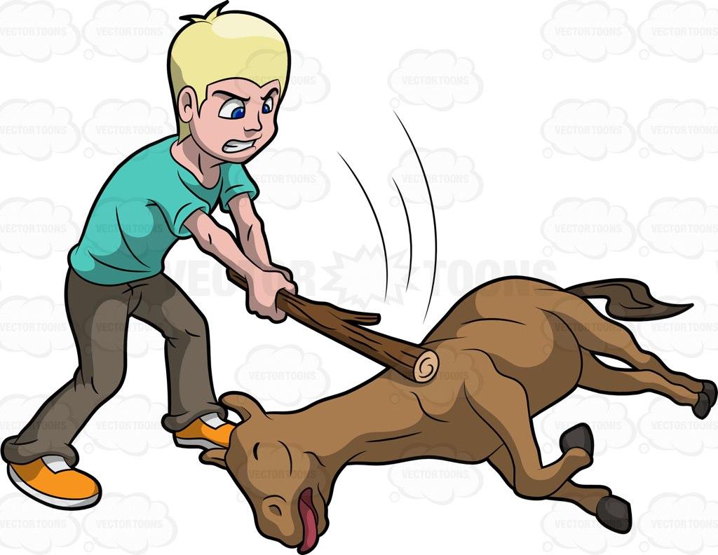 Beat A Dead Horse Cartoon Clipart.