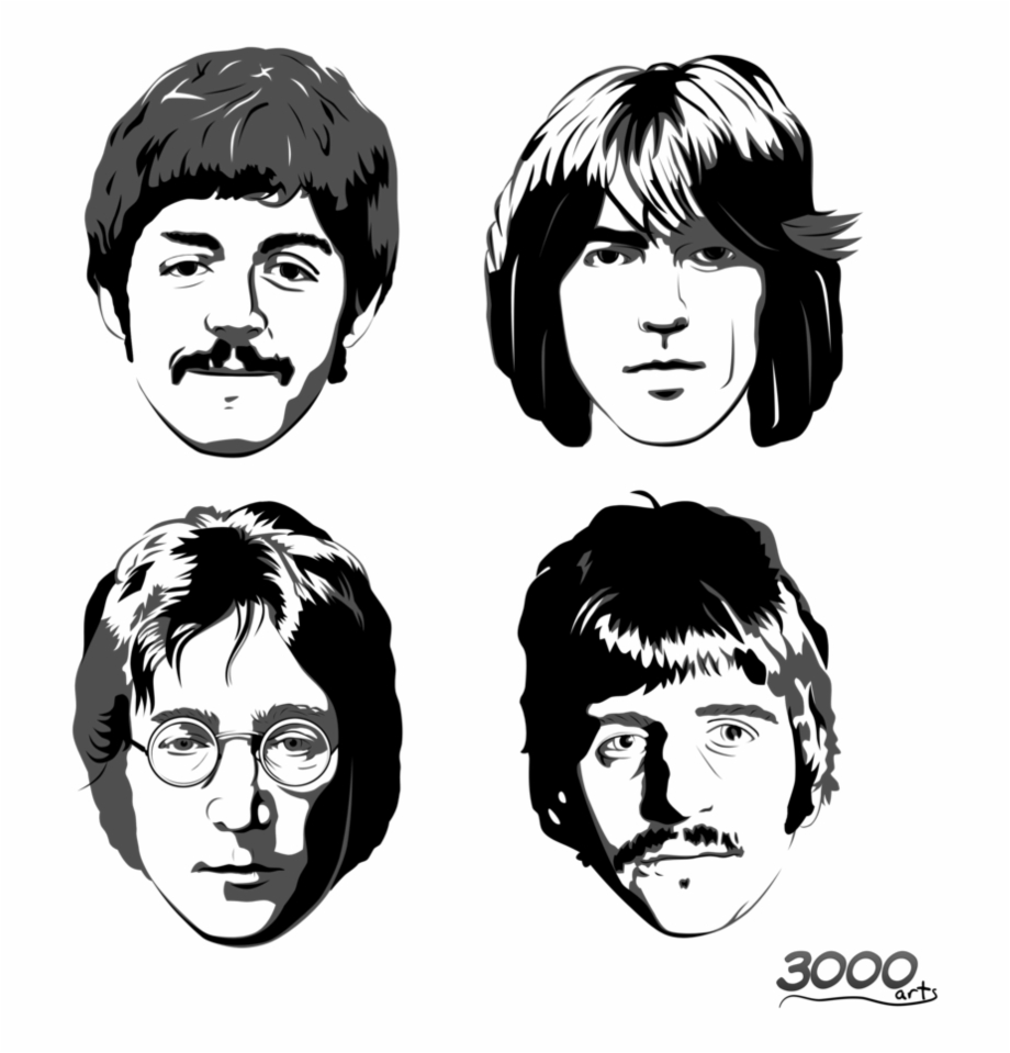 Beatles Png Free Download Beatles Faces Black And.