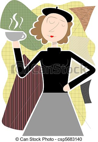 Vector Clipart of Beatnik woman holding coffee cup ab.