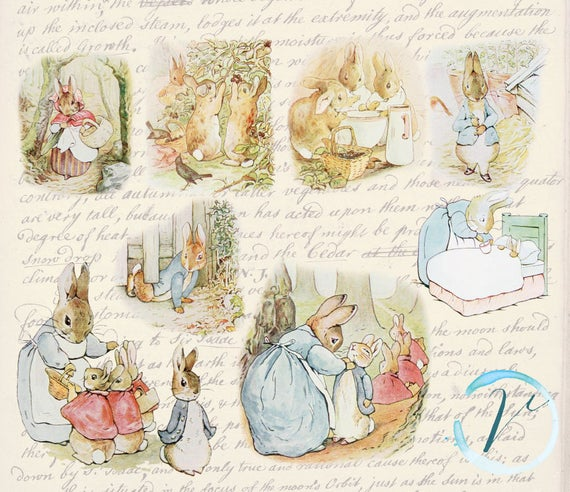 Vintage Clipart Beatrix Potter Peter Rabbit high resolution Digital Clip  Art Set: Commercial and Personal Use..