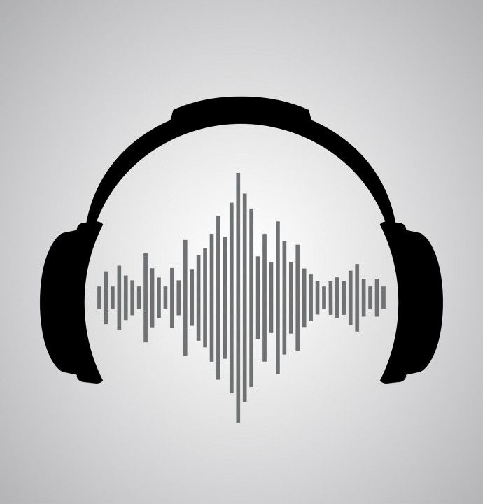 headphones icon with sound wave beats. Vector flat.