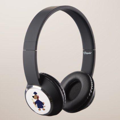 Graduating dog clipart headphones.