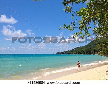 Stock Photo of Beautiful woman in a bikini walking alone on the.