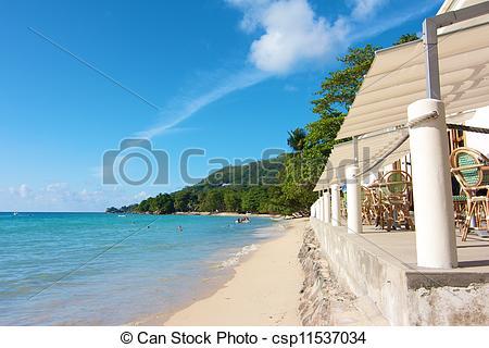 Stock Photos of Beach restaurant at the white beaches of Beau.
