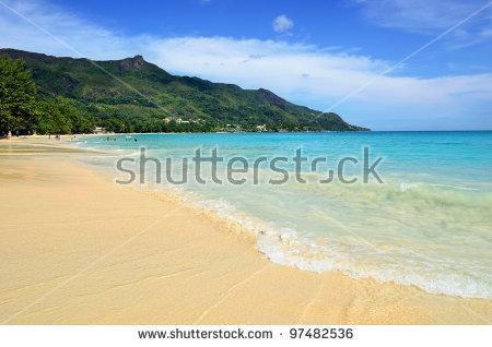 Tropical Sandy Beach On Seychelles Islands. Mahe. The Most Popular.