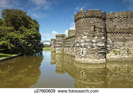 Stock Photograph of Wales, Anglesey, Beaumaris, The outer curtain.