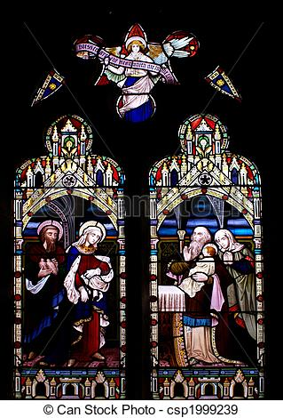 Stock Photographs of Stained glass in the church in Beaumaris.