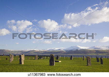 Stock Photo of North Wales, Anglesey, Beaumaris, Stone circle on.