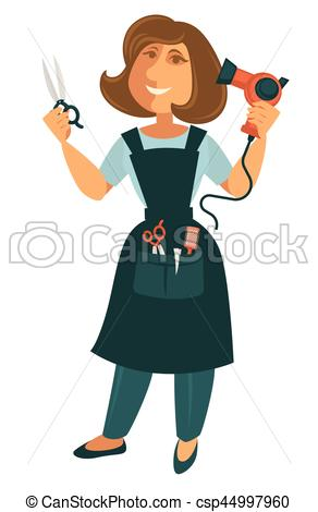 Female hairdresser with scissors and blow dryer isolated on white.