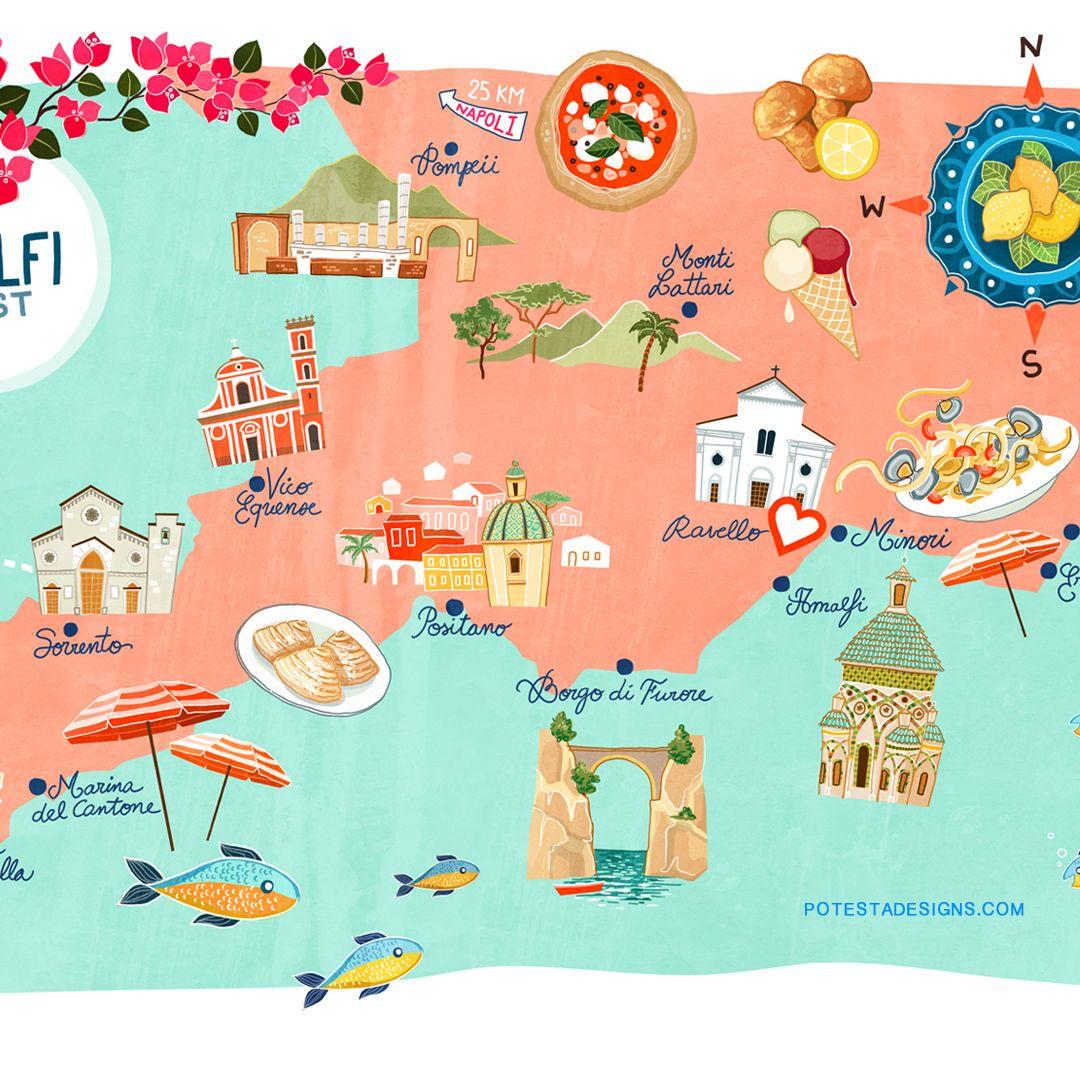 Amalfi Coast map to help you explore all of its beauties.