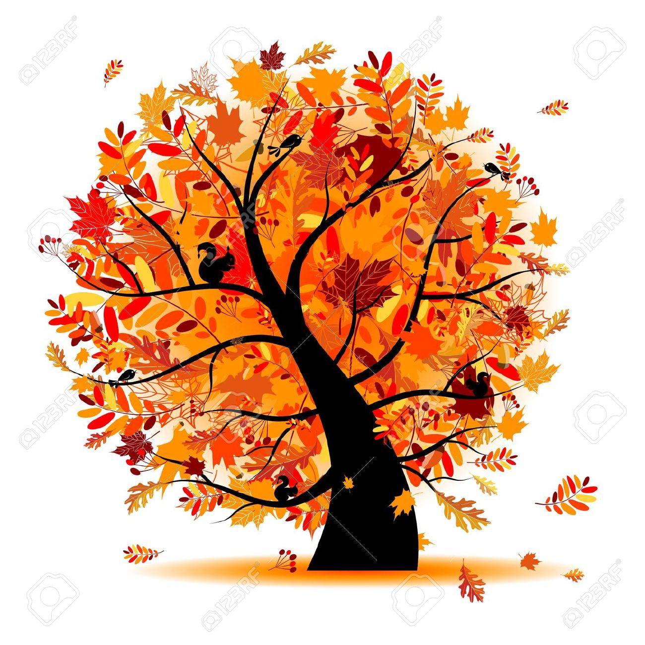 Beautiful Fall Trees Clip Art.