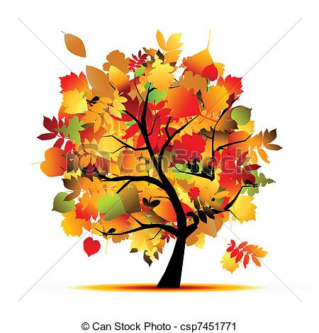 Vector Clip Art of Beautiful autumn tree for your design.