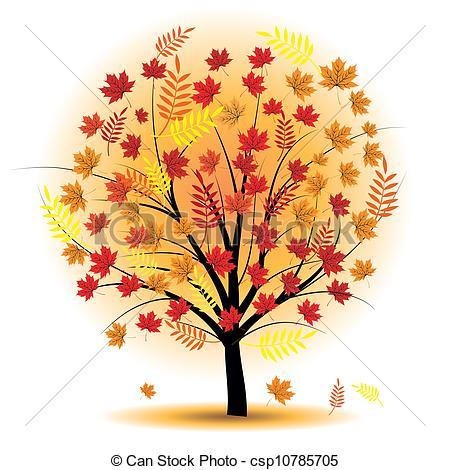 Vector Clipart of Beautiful autumn tree. Design element. Fall.