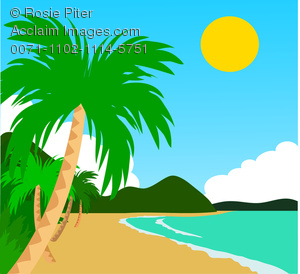 Clip Art Illustration of a Tropical Beach.