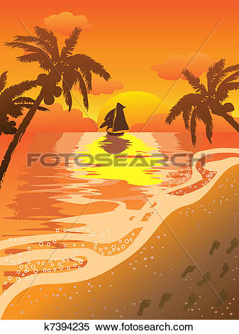 Clipart Of Beautiful Sunset Beach K7394235