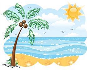Beautiful Beach Scenery Clip Art.