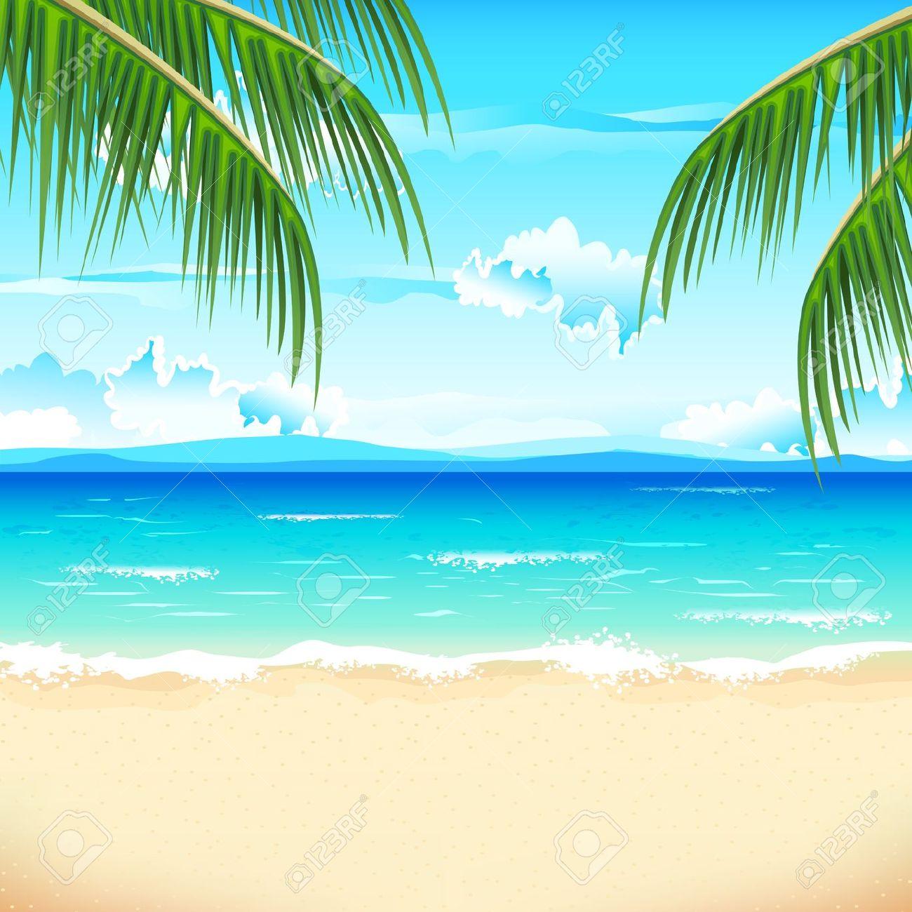 Beautiful beach scenery clipart.