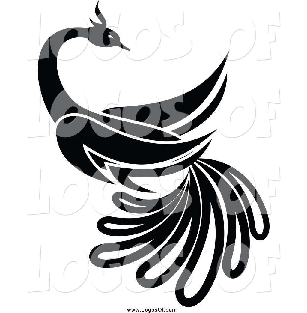 Vector Clipart of a Black and White Beautiful Bird Logo by.