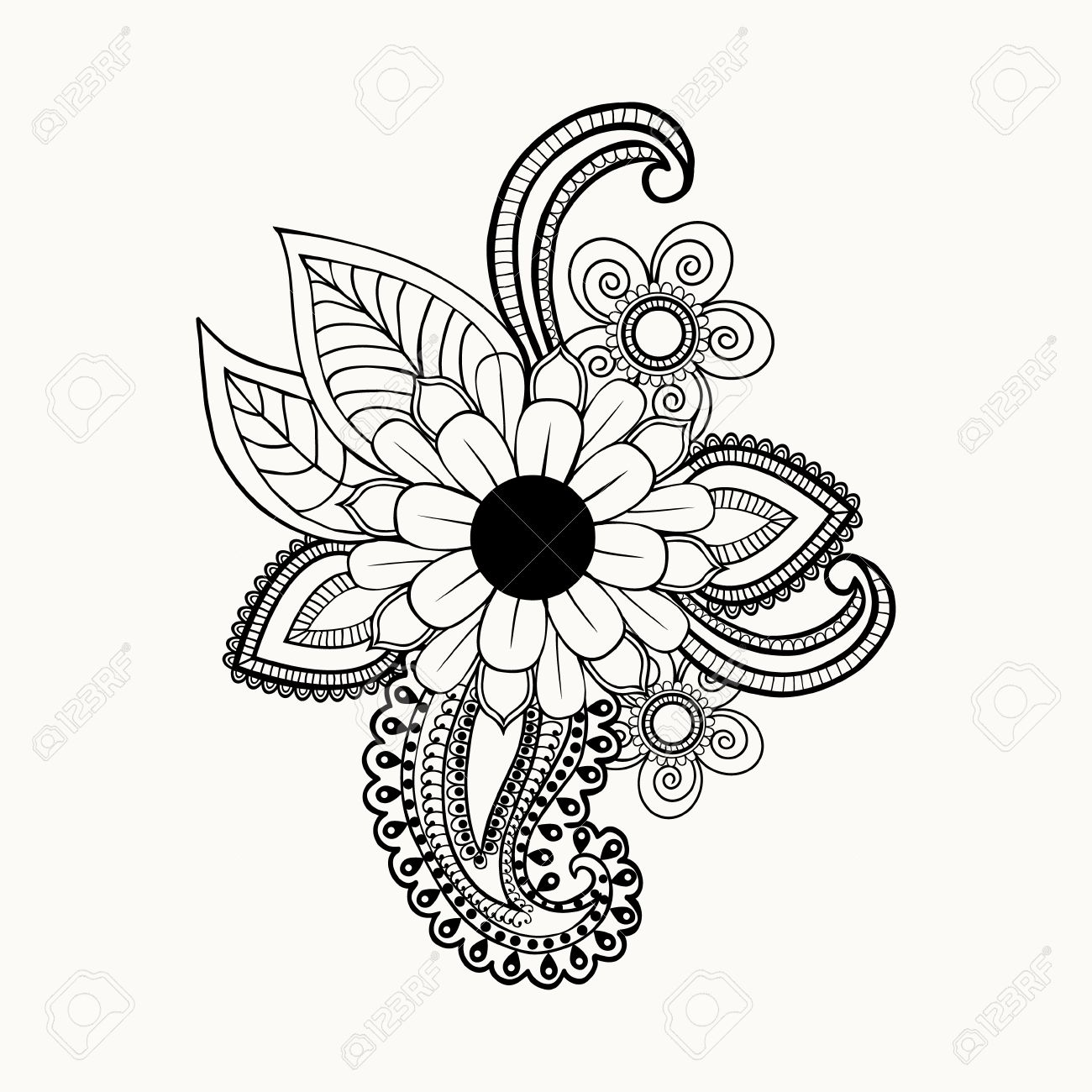 Beautiful Black and white flowers and leaves design element.