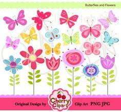 Retro Blumen Clipart ClipArt, Vintage Blumen Clip Art Clipart.