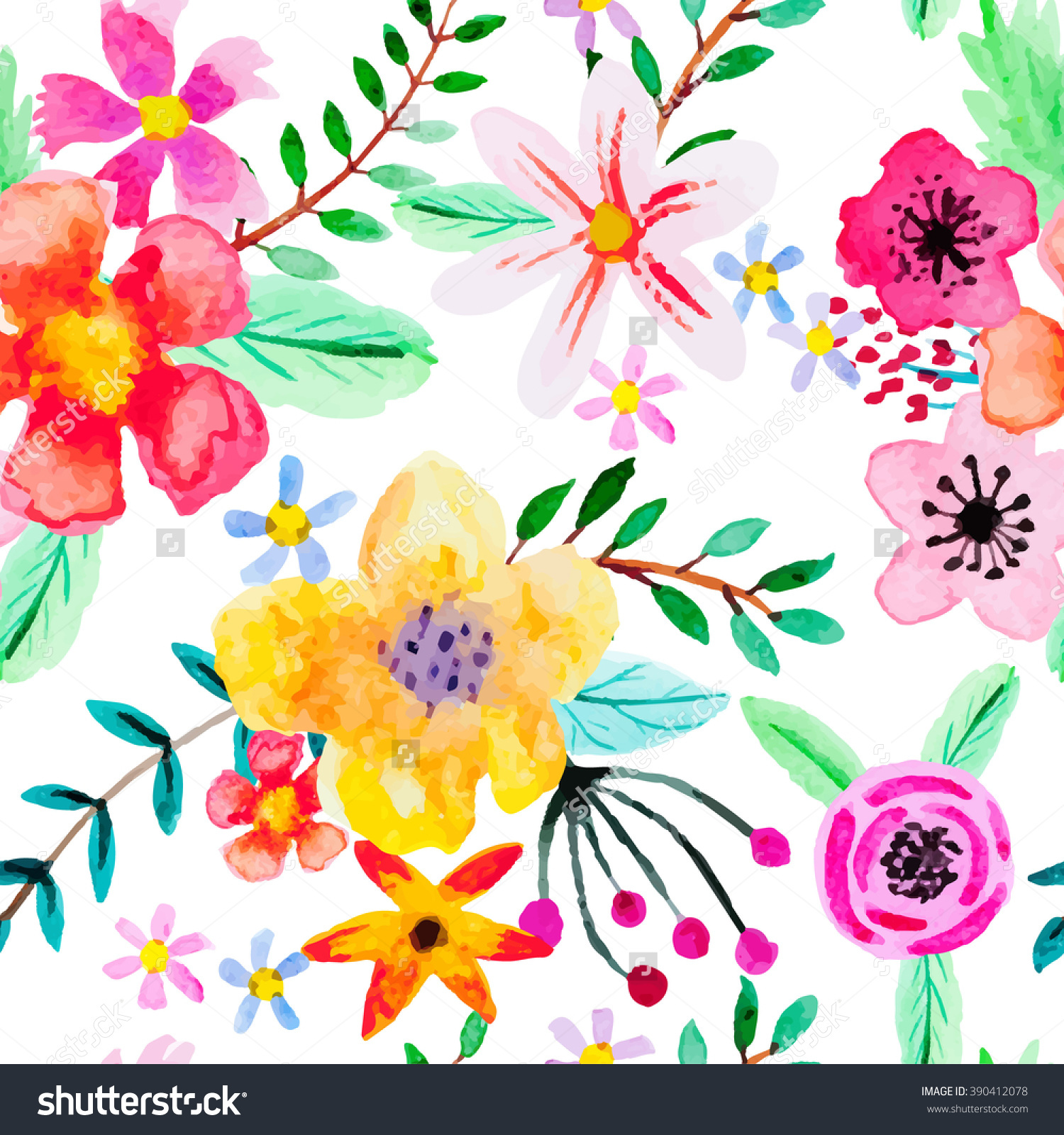 Seamless Pattern Abstract Watercolor Flowers Red Stock Vector.