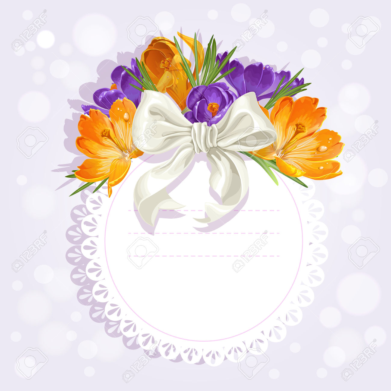 Openwork Card With Flowers Beautiful Yellow And Purple Crocuses.