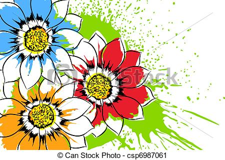 Vector Clip Art of Beautiful flowers.