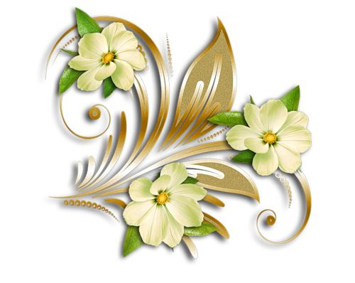 Yellow Flowers Gold Ornament Clipart.