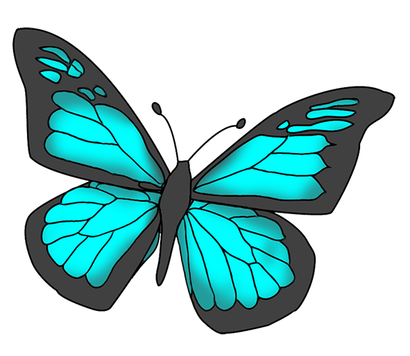 Blue and black colored butterfly clipart in 2019.