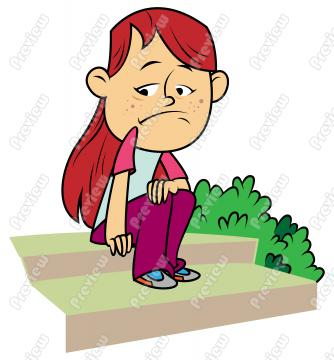 Beautiful sad girl clipart.