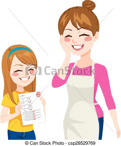 Clip Art Vector of Child Showing Good Grades.