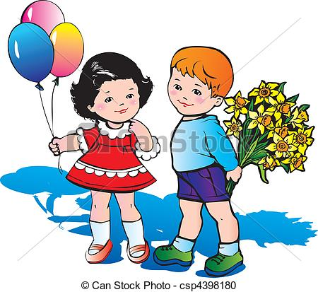 Vector Clipart of Children with flowers..