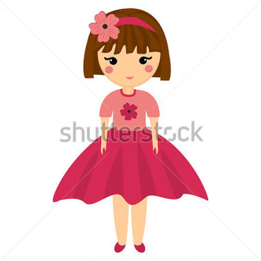 Beautiful girl doll clipart.