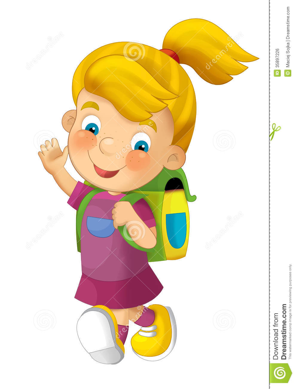Cartoon Child Going To School.